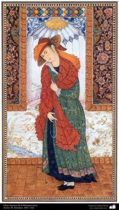 Young man, painted in 2001 in the Safavid style. Please read comments.