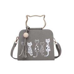 bbd297a411 2017 New Fashion Ladies Girls Cute Cartoon Cats Printed Small Crossbody  Bags Women Scrub Leather Handbags Shoulder Bags Popular