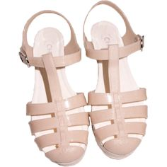 Tumblr ❤ liked on Polyvore featuring shoes, sandals, flats, pink and fillers