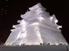 Japanese castle in snow festival Sapporo, Hokkaido