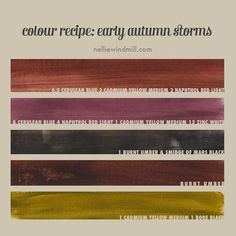 """Color mixing recipe for acrylics - """"Early Autumn Storms"""" - and a note on zinc white vs titanium white 