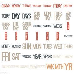 Cricut Days and Dates Garden Of Words, Cricut Cartridges, Cricut Fonts, Dates, Lyrics, Letters, Date, Song Lyrics, Letter