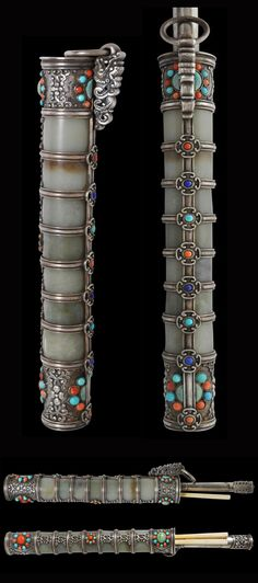 Jade, Silver, Ivory & Semi-Precious Stone Eating Knife Set from Mongolia | 19th century || This elegant eating set offers a small glimpse into the lifestyle of the Mongolian nobility in the nineteenth century. The set comprises a holder, a knife and a pair of chopsticks