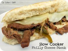 Slow Cooker Philly Cheese Steak Sandwiches LOVE IT!  even better leftovers frozen and reheated.  Plan to make when this otherwise tough meat goes on sale again