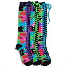 Camo Sneaker Knee High Socks #funkysocks #littlemissmatched