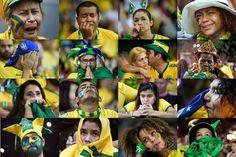 サッカーW杯ブラジル大会(2014 World Cup)準決勝、ブラジル対ドイツ。ブラジルの敗戦を悲しむブラジル代表サポーターのコンボ写真(2014年7月8日作成)。(c)AFP ▼9Jul2014AFP|【写真】大敗に落胆するブラジル代表サポーター http://www.afpbb.com/articles/-/3020054 #Brazil2014 #Brazil_Germany_semifinal
