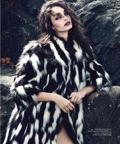 Luma Grothe wears winter fur pieces on Harper's Bazaar Serbia Magazine January 2016 editorial Photoshoot