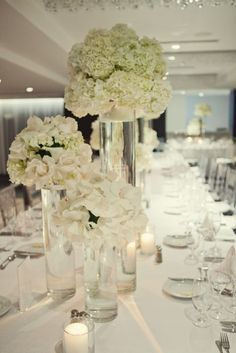 white wedding flower table arrangements - Google Search