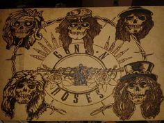 Guns n' Roses pirografado