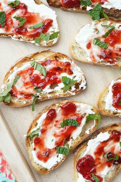 Grilled Strawberry Jalapeno and Cream Cheese Crostini is a delicious bite of salty, sweet, and spicy! The perfect no cook summertime appetizer or snack!