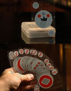 Invisible Waterproof Playing Cards Well, they aren't invisible in the strictest sense, but they are crafted from high-quality transparent plastic that feels and deals like paper. And they come in a super stylish hard plastic carrying case to boot.   Clear plastic  Waterproof  Unmarkable for honest play  Includes jokers