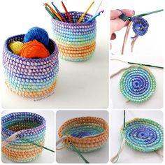 Come fare un utilissimo cestino a uncinetto, con cotone (in questo caso di colore cangiante) e fettuccia (o se volete, anche con corda).  Utilissimo e bello per contenere le piccole cose che di sol