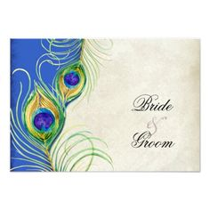 Love Bird's Wedding RSVP Peacock Feathers Blue Damask RSVP Response Card