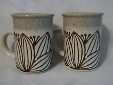 2 Vintage Glazed Stoneware Coffee Mugs Cups-Tan & Brown Speckled-Flower Theme