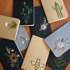 The Latest Trend in Embroidery – Embroidery on Paper - Embroidery Patterns Paper Embroidery, Embroidery Stitches, Embroidery Patterns, Diy Embroidery Gift Ideas, Notebook Diy, Notebook Covers, Handmade Notebook, Diy And Crafts, Paper Crafts