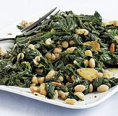 Sautéed Spinach with White Beans and Pine Nuts - Vegan