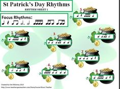 MUSIC: ST Patrick's Day Rhythm Activities.   Caters for Grades 1 - 5. A 12 page file with suggestions for TEN different ways to present to rhythms to students!  $