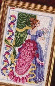 Punto de Cruz GRATIS: Dama Victoriana del Abanico