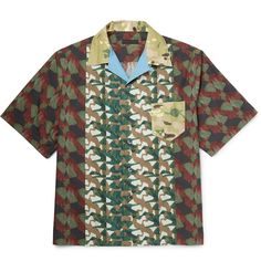 Retro, camp-collared shirts are fast becoming one of <a href='http://www.mrporter.com/mens/Designers/Prada'>Prada</a>'s most recognisable designs. Made in Italy from lightweight cotton, this boxy style is printed with an abstract pattern that resembles earthy military camouflage. Let it take centre stage against dark trousers.