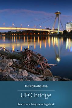 UFO shaped BRIDGE  The New Bridge will certainly catch the eye of every visitor thanks to its UFO shaped deck on the top. Popular among tourists and locals, the observation deck with a café and restaurant on the top provide amazing view of the city during day and night.  #Slovakia #VisitBratislava #Europe #citybreak #bridge #Bratislava Top Place, Bratislava, City Break, Ufo, Bridge, Places To Visit, Deck, Europe, Restaurant