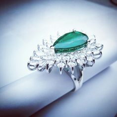 #Diamond And  #Pear #Shape #Emerald #White #Gold #ring #Unique #Design By ZARE JEWELLERY