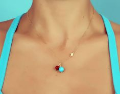 """Turquoise Necklace, Coral Turquoise Necklace / Natural Turquoise, Tiny Cross Necklace / 14k Gold Filled   """"Teledike"""""""