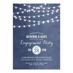 Backyard Wedding Invitations Summer String Lights Engagement Party Invitation