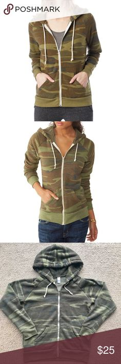 Alternative Apparel Camo Zip Hoodie Size Small. Looks great layered under a black leather jacket. Super soft. No pilling. The faded / soft worn look is the style. Perfect condition. Only worn about 2-3 times and washed once. Alternative Apparel Tops Sweatshirts & Hoodies