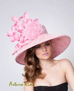 Couture Derby Hat Pink Lampshade hat Easter Hat by ArturoRios, $235.00