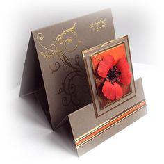 handmade card: Poppy Tent Fold ... dimensional poppy ... gold embossed flourish on kraft ... lovely ...