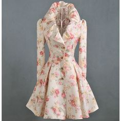 Women Floral Rose Printed Princess Swining Coat - Jackets & Coats - CLOTHING