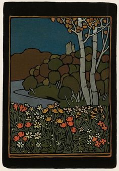 'Herbst im Isarthal' tapestry design by Paul Burck, produced in 1899.