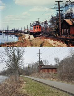 Were here is Elgin along the river .Photographer unknown captured this east bound in 1955 .I went back to the same location yesterday 2015 and almost looks the same Railroad History, Old Gas Stations, Old Trains, Train Engines, Chicago Style, The Locals, Illinois, Aurora, Paths