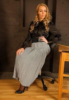 """lovelyskirts: """"Very pretty! Bow blouse paired with a pleated skirt is so lovely, as both are so lovely and beautiful, as pleated skirts are very pretty and drape beautifully, lovingly, and adorably,..."""