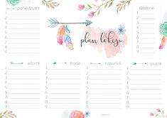 darmowy plan lekcji do druku boho My Wallet, Aesthetic Design, Work Travel, Weekly Planner, Journal Pages, Lesson Plans, Back To School, Needlework, Diy And Crafts