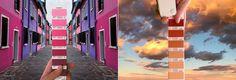 Ele+viaja+comparando+as+cores+de+edifícios+e+natureza+com+a+Pantone