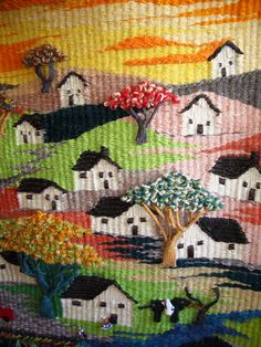 donde venden telares decorativos en santiago - Google Search Loom Weaving, Hand Weaving, Tapestry Loom, Cross Stitch Landscape, Weaving Textiles, Weaving Projects, Woven Wall Hanging, Weaving Techniques, Wet Felting