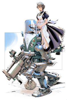 Maid Mecha by Yasuda Akira (Akiman) Robot Design, Game Design, Character Concept, Character Art, Akira, Arte Robot, Arte Cyberpunk, Robot Concept Art, Anime Kunst