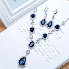Cheap earring holder jewelry box, Buy Quality necklace shirt directly from China necklace earring holder Suppliers: 2016641764299638 HOT SALE 8892 imitation Sapphire long necklace drop earrings Women Wedding Acces