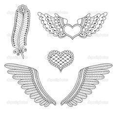 Conjunto tatuagem corações, asas, penas. ilustração vetorial