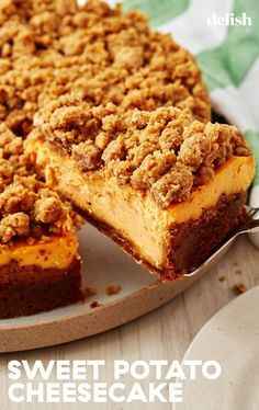 Sweet Potato Cheesecake Will Make You Forget All About PieDelish Fall Dessert Recipes, Fall Desserts, Just Desserts, Holiday Recipes, Southern Desserts, Sweet Potato Cheesecake, Cheesecake Recipes, Eggnog Cheesecake, Beignets