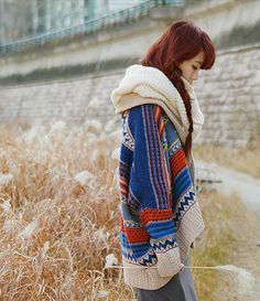 VINTAGE AZTEC WOOL KNIT CARDIGAN ~ want this!!!!!