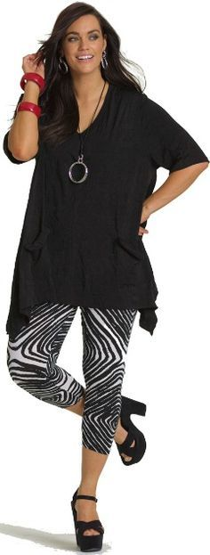 5aa9dfb1bc Great over sized stylish black tunic over awesome leggings! Who said plus  size style has to be boring