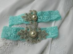Tiffany Blue Stretch Lace Wedding Garter with by BellaSposaCouture, $39.95- my something blue?