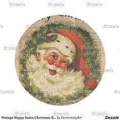 Vintage Happy Santa Christmas Greetings Art