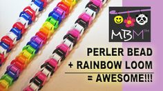 Combine your Perler Beads (or Hama beads) and your Rainbow Loom Bands to make the best easy bracelet! You can use a Rainbow Loom, Monster Tail, Mini Loom, Cr. Rainbow Loom Tutorials, Rainbow Loom Patterns, Rainbow Loom Creations, Rainbow Loom Bands, Rainbow Loom Bracelets, Loom Band Bracelets, Rubber Band Bracelet, Loom Gummis, Loombands Tutorial