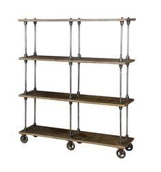 Antiqued Wood + Iron Backer Rack Bookshelf | Zin Home