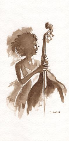 Jazzy time - Black woman in the double bass - Original Sketch - Ink walnut stain - Sepia  - Concert jazz music - black and White
