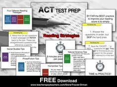 ACT READING STRATEGIES TEST PREP FREE - TeachersPayTeachers.com
