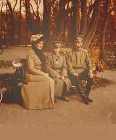 Emperor Nicholas II of Russia with wife, Empress Alexandra Feodorovna of Russia, and son, Tsarevich Alexei Nikolaevich Romanov of Russia, during the First World War. Originally black and white photograph coloured by me.